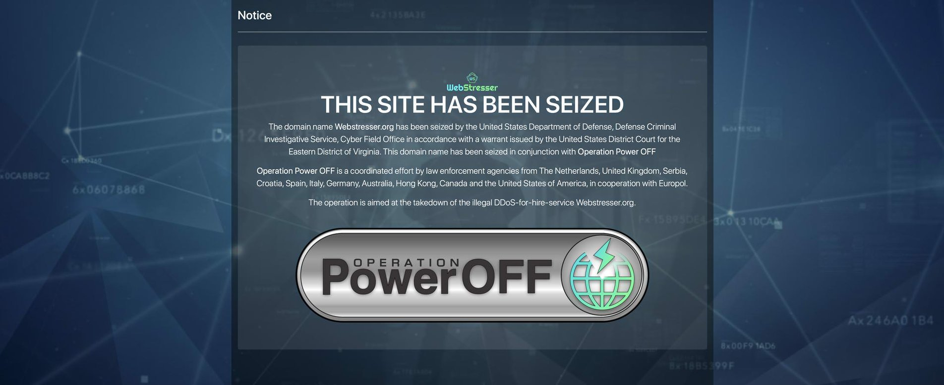 WebStresser.org seized by the United States Department of Defense.