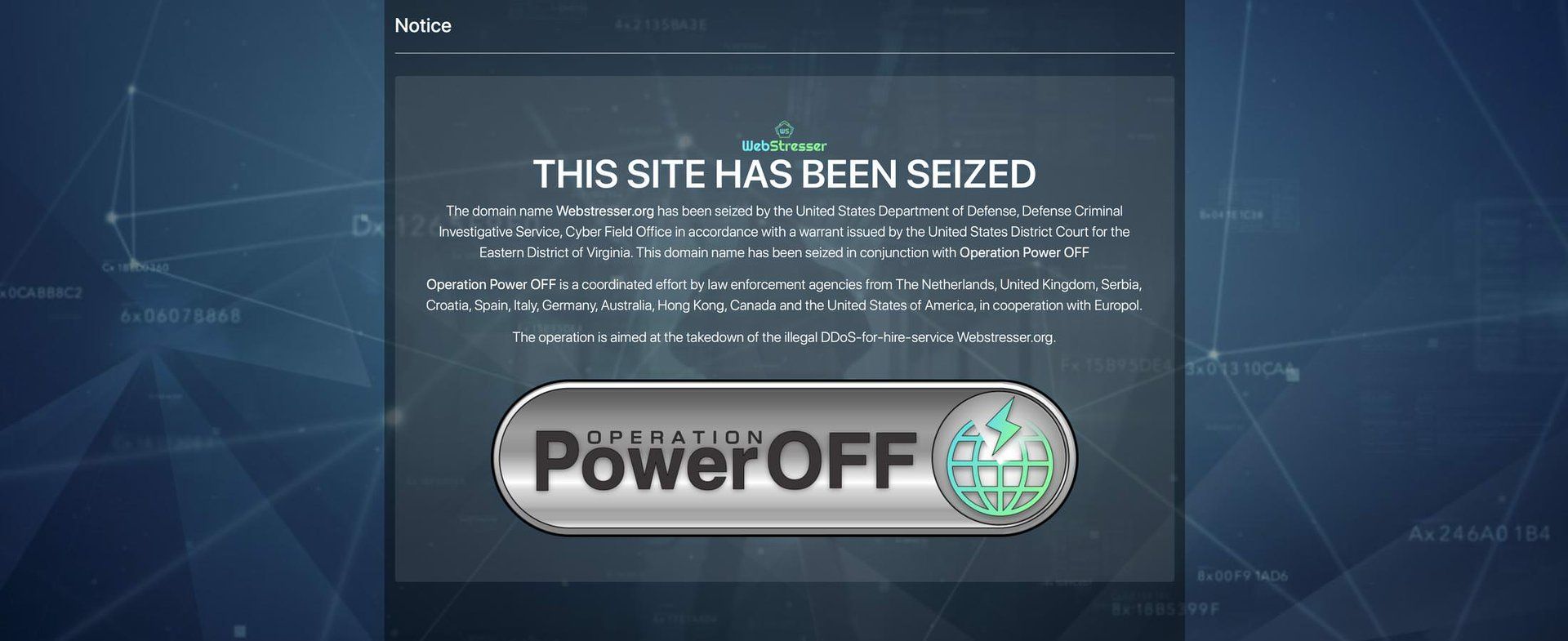 WebStresser org seized by the United States Department of